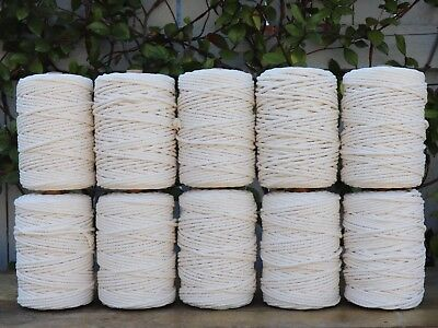macrame rope 5mm 1400m 10kg string cord cotton bulk wholesale natural 3 strand