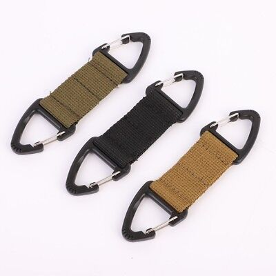 Nylon Webbing Belt Double Carabiner Key Holder Bag Hook Buckle Strap Clip USA
