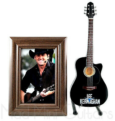 Miniature Guitar LEE KERNAGHAN with Stand + Photo + Frame
