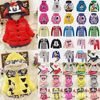 Toddler Kids Boys Girls Mickey Minnie Mouse Hoodie T-shirt Top Coat Pants Outfit