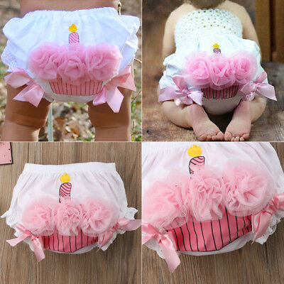 US Toddler Baby Girl Lace Ruffle Bloomer Nappy Underwear Panty Diaper Cover