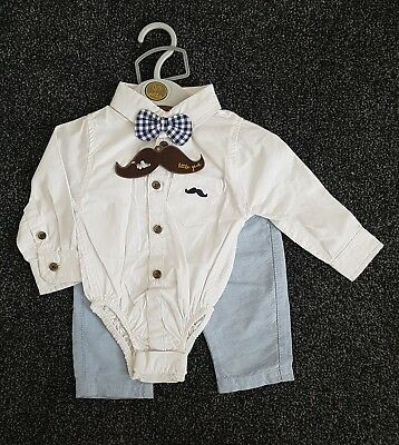 Baby Boy Tuxedo Bodysuit Shirt Chino Pant Bow Tie Set LittleGent