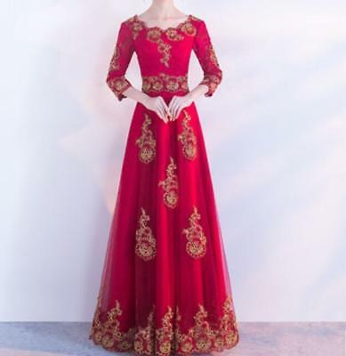 Women Embroidery Chinese Red Slim Wedding Dres 3/4 Sleeve Prom Cocktail 2 Style