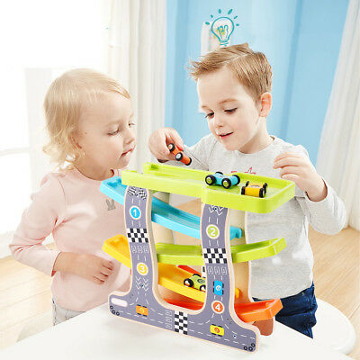 Kids Children Wooden Car Racer Toy Racing Cars Gliding Tracks With 4 Cars
