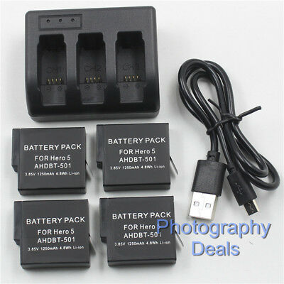 4x AHDBT-501 / AABAT-001 Battery + 3 Channel Charger For GoPro Hero 7 6 5 Black