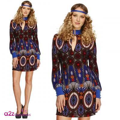 Fever 1970s Beauty Fancy Dress Costume Ladies Psychedelic Hippy 60s Retro Outfit