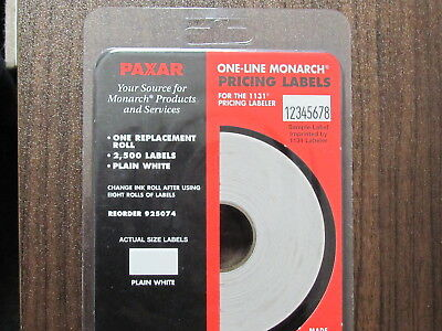 PAXAR One-Line Monarch White Pricing Labels for 1131 Labeler 2500 count
