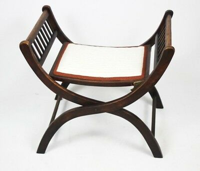 Antique Edwardian Mahogany Folding Stool - FREE Shipping [PL4460]