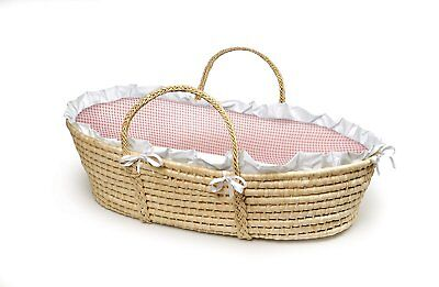 Badger Basket Natural Baby Moses Basket, Pink Gingham