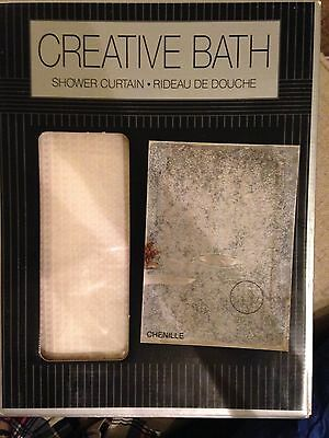 NEW Creative Bath Products Fabric Shower Curtain Vanilla WHITE Chenille Bathroom