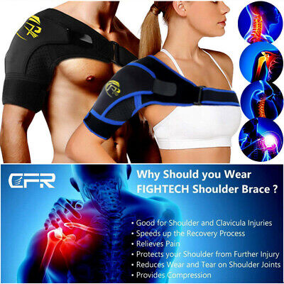Black Shoulder Brace Support Strap Wrap Belt Dislocation Neoprene Pain Relief OS