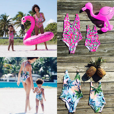 Women Kid Girls Family Matching One Piece Swimwear Swimsuit for Mother Daughter