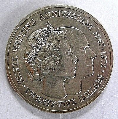 1972 $25 Cayman Islands Sterling Silver 25th Wedding Anniversary Commemorative