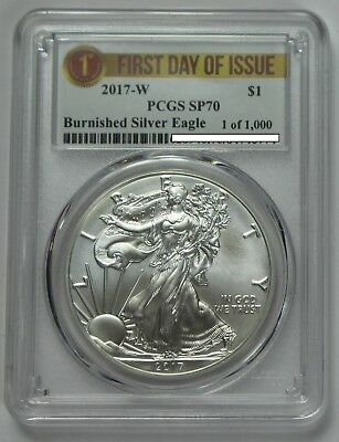 2017-W ASE American Silver Eagle PCGS SP70 First Day of Issue FDOI Burnished
