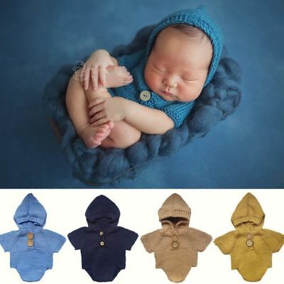 Girls Boys Newborn Baby Romper Photography Props Hooded Outfit Knit Crochet