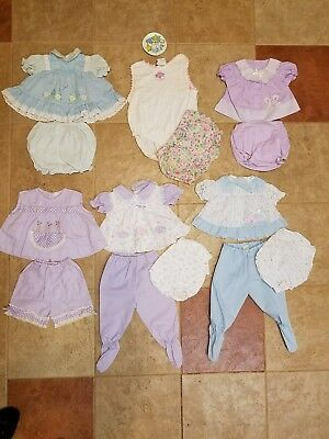 Lot of 6 Vintage Baby Girl Dresses, Outfits,  3 Piece Sets