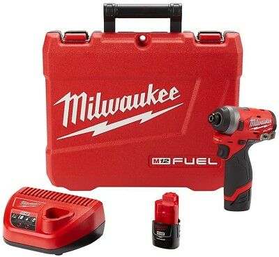 Milwaukee Hex Impact Driver 12 Volt Brushless Cordless (2) Batteries And Charger