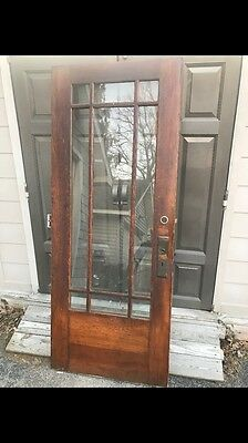 Antique Oak Prairie Style Townhouse Entrance Door 32x78 Upstate NY