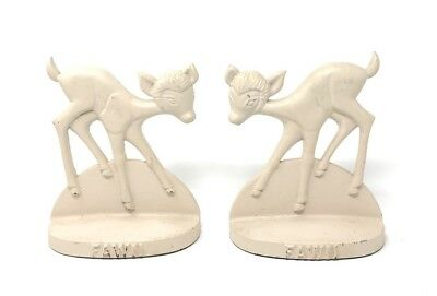 Antique Fawn Deer Cast Iron Bookends Wildlife Circa 1930's Vintage Figural