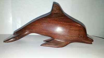 Hand Carved Wooden Dolphin Art Sculpture Polished wood
