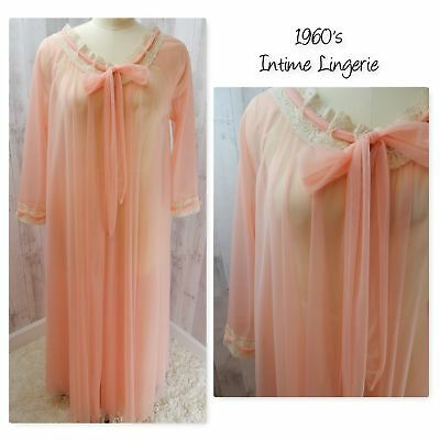 1960s Vintage Intime NEGLIGEE NIGHTGOWN LACE LINGERIE Apricot Pinup Bombshell S