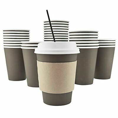 100 Pack 12 Oz Disposable Hot Paper Coffee Cups, Lids, Sleeves, Stirring Straws
