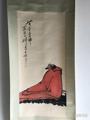 Excellent old Chinese Scroll Painting By Pan Tianshou 潘天寿: arhat c154