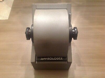 Vintage Rolodex Model 1753 Filing Metal Roll Top Rotary Index Card Holder GRAY