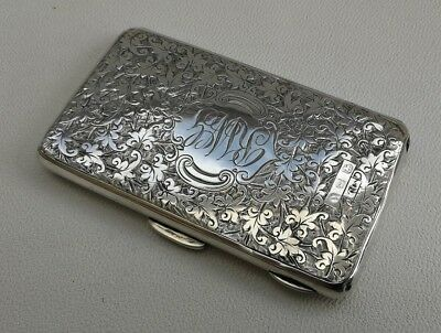 Vtg 1896 Victorian Colen Cheshire Solid Silver & Brown Leather Card Case 53g