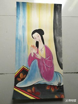 3 excellent Chinese Paintings on rice paper by Lin Fengmian:lady D27