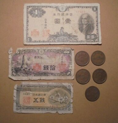 3 Low Grade Japanese Banknotes & 5 Japanese Coins