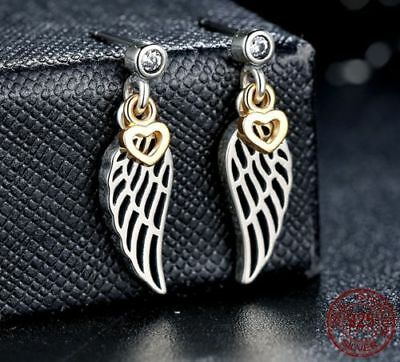 *UK* Authentic Love Guidance Drop Earrings Angel Wings Sterling Silver 925 Studs
