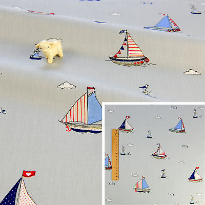 100% Cotton Fabric by Metre or Fat Quarters Anchor Nautical Boats Curtains Craft Creatieve hobby's