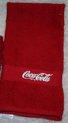 """""""Coca Cola Inspired"""" 1 Red Hand towel w/white thread machine embroidered"""