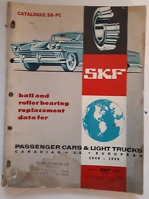 Rare Cdn.(Toronto)- Skf Ball & Roller Replacement Data For 1948-58 Trucks & Cars