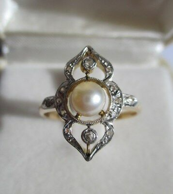 Superbe bague ancienne - Perle - Diamants - Gold or massif 18 carats 750