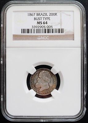 1867 Brazil 200 R, bust type , MS 64 NGC, nice silver coin