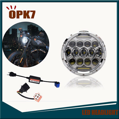 Chrome Projector DRL 7Inch Motorcycle Adaptive Led Headlight For Harley Davidson