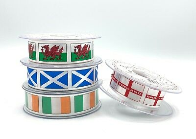 England Flag Ribbon - St George's Cross - St Andrews - Welsh Dragon - Irish Flag