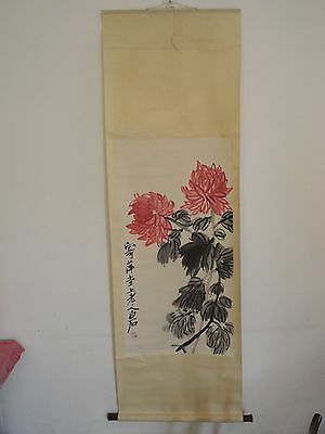 Excellent old Chinese Scroll Painting By Qi Baishi: flower V43