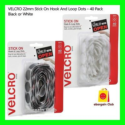 VELCRO 22mm Black or White Stick On Hook And Loop Dots - 40 Pack Adhesive eBC