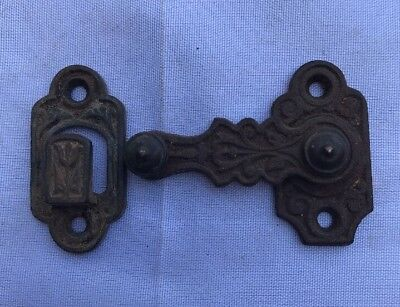 Antique Eastlake Victorian Shutter Latch Cast Iron Ornate Collectible Hardware