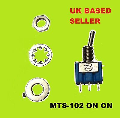 MTS-102 Micro Small TOGGLE SWITCH ON/ON 3 PIN 6A 125VAC/3A 250V UK STOCK
