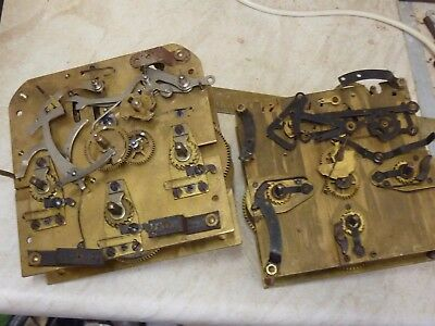 2 Useful Old Westminster Chimes Movements-- Spares Or Repair