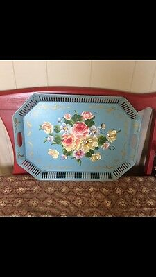 French Country Blue Rose Painted Toleware Gray Shabby Chic 17x24 Flowers