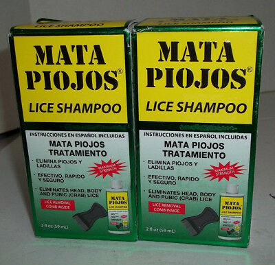 2 SHAMPOOS MATA PIOJOS 2 oz C/U - EFFECTIVE LICE TREATMENT SHAMPOOS Exp. 7/18