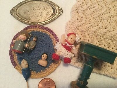 antique tiny dolls and crocheted rug miniatures