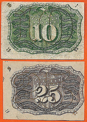 FR # 1286  FR # 1249 US Fractional Currency  TWO VERY SCARCE NOTES