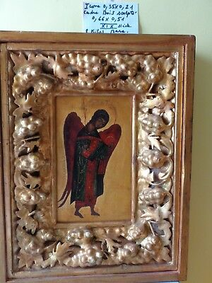 Antic Russian large wood carved gold XIXeme Orthodoxe Icon Russe Icône