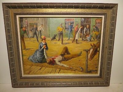 "18x24 org. 1950 oil painting by Frederic Burnett of ""Dual: Missy, got that loss"""